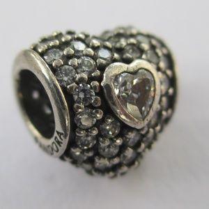 PANDORA Triple Heart Pave Silver & Clear CZ Charm